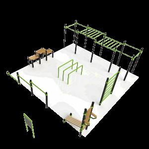 Extra groot calisthenics park met gevorderde oefening mogelijkheden voor boven- en onderlichaam