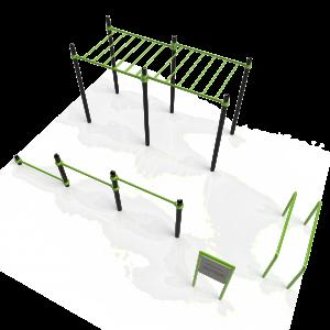Stalen calisthenics park voor standaard oefeningen