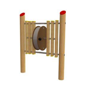 Robinia spelpaneel waarmee door draaien een regengeluid gemaakt kan worden.