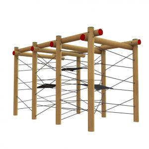 Robinia klimtoestel met wirwar van touwen en hangmatjes