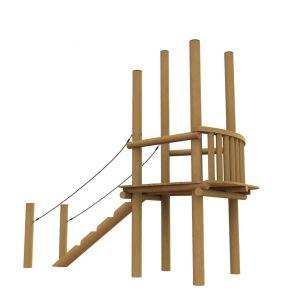 Robinia uitkijktoren met ballustrade en trapje.