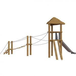 Robinia toren met een touwbrug en een glijbaan.