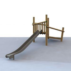 Robinia startplatform met RVS glijbaan voor een heuvel van 180 centimeter hoog