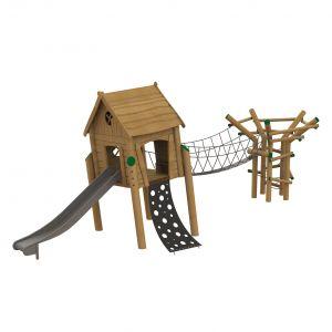 Robinia speelcombinatie bestaande uit een scheef speelhuisje op palen en een broedplektoren