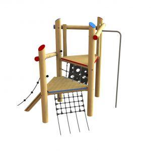 Robinia speeltoren met een brandweerpaal en diverse klimonderdelen