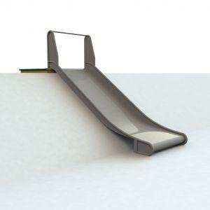 Hardhouten bordes met RVS glijbaan van een meter breed voor een heuvel van 150 centimeter hoog