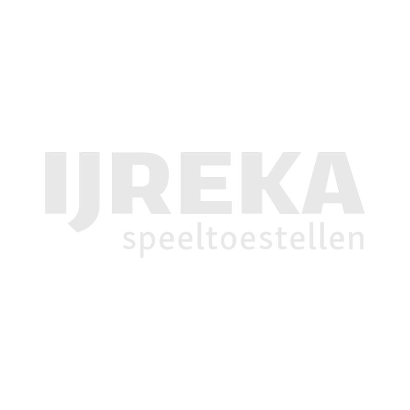 Eiken bordes met RVS glijbaan voor mindervaliden voor een heuvel van 180 centimeter hoog