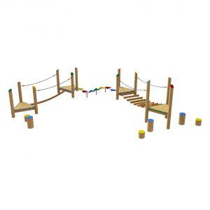 Robinia loopparcours met twee loopbruggen verbonden door een gekleurd loopparcours
