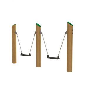 Drie robinia staanders met twee minischommels