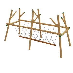 Robinia schommelframe met grote touwschommel voor negen personen