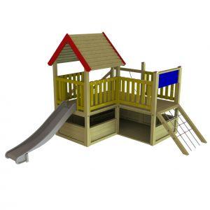 Groot WaxedWood speelhuis voor jonge schoolkinderen