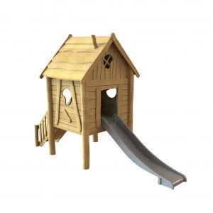 Robinia speelhuisje op staanders met trap en glijbaan