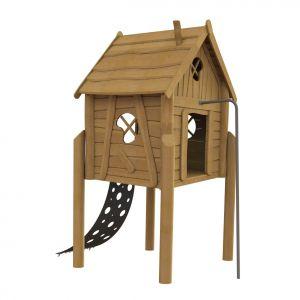 Robinia speelhuisje op palen met een klimmat en een brandweerpaal