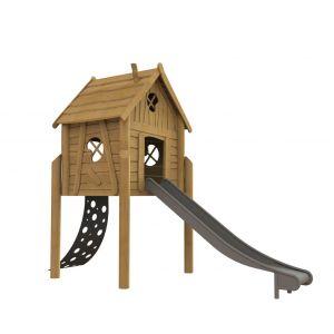 Robinia speelhuisje op palen met een klimma en een glijbaan