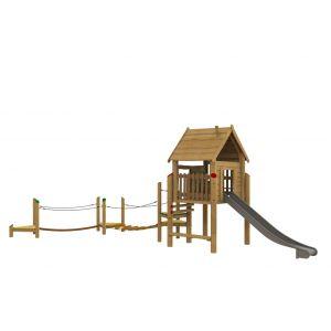 Robinia speelcombinatie met een speelhuisje, een klimparcours, een glijbaan en een bankje