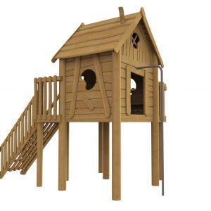 Robinia speelhuisje op palen met een balkon en een brandweerpaal