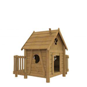 Robinia speelhuisje op palen met een balkon