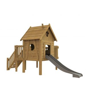 Robinia speelhuisje op palen met een balkon en een glijbaan