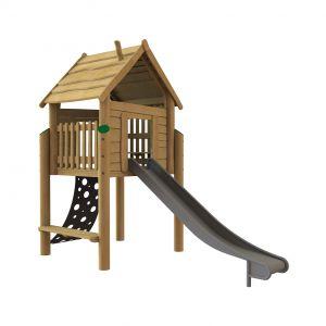 Robinia speelhuisje op palen met een zitbankje, een klimmat en een glijbaan
