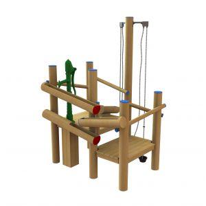 Robinia speeltoren met zandtakels en een waterspel met een waterpomp