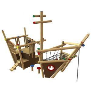 Robinia speelschip met diverse speelonderdelen