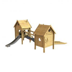Robinia boederijdorpje met twee speelhuisjes, een verbindende brug en een glijbaan