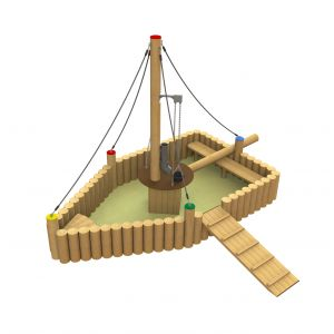 Robinia zandbak met een zandtakel in de vorm van een boot