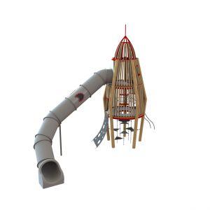 Robinia speeltoren in de vorm van een raket! Met verschillende klimmogelijkheden en tunnelglijbaan