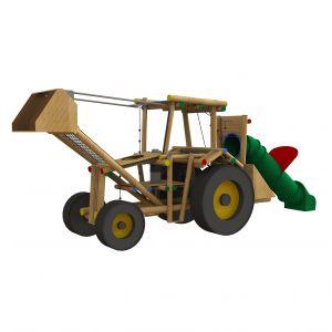 Robinia speeltoestel met verschillende speelonderdelen in de vorm van een trekker.
