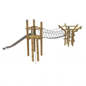 Twee Robinia speeltorens met een verbindende touwbrug en een glijbaan