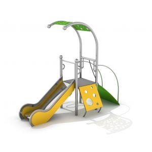 RVS speeltoren met klimpanelen en een glijbaan