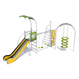 RVS speeltoren met een klimrek verbonden door stapschijven