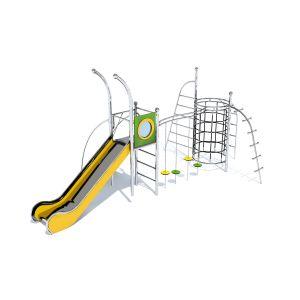 RVS klimrek verbonden met een speeltoren met glijbaan