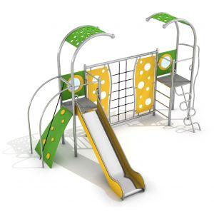 RVS speeltorens met een glijbaan en een klimrek