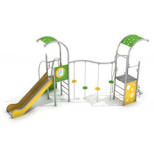 RVS speelcombinatie van speeltorens en een stapschijvenparcours
