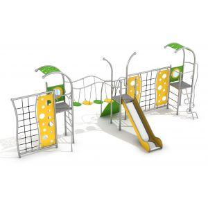 RVS speelcombinatie met verschillende speelonderdelen