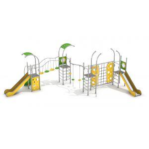 RVS klimtoestel met verschillende speelonderdelen
