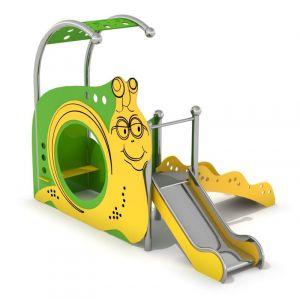 RVS speelhuisje met een glijbaan en een loopplank