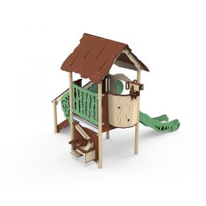 Kunststof speeltoren met zand- en waterspel en glijbaan