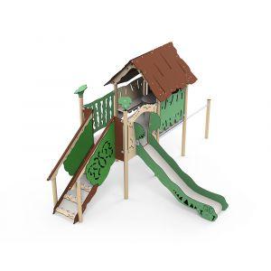 Kunststof speelhuisje als speeltoren met glijbaan en duikelrek