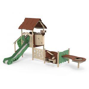 Kunststof speeltoren met een zand- en waterspel, een verrekijker en een glijbaan.