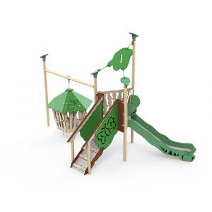 Kunststof speeltoren met een hangende jungle hut en een glijbaan.