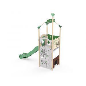 Kunststof speeltoren met een glijbaan en een speelwand.