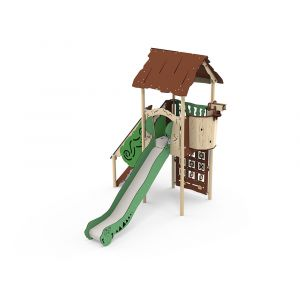 Kunststof speeltoestel met een spelbord en een glijbaan.