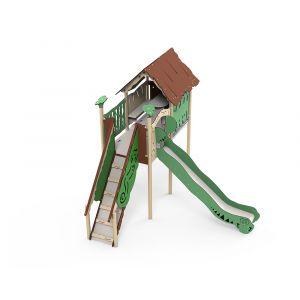 Kunststof speelhuisje als speeltoren met een glijbaan.