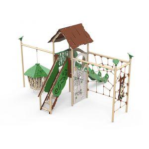 Kunststof speeltoren met klimtouwen, een hangende jungle hut, een speelwand en een glijbaan.
