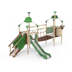 Kunststof speelcombinatie met een loopbrug, een verrekijker en een glijbaan.