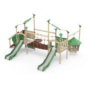 Kunststof speelcombinatie met een loopbrug, twee glijbanen en een hangende hut