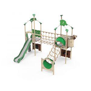 Kunststof speelcombinatie met een klimparcours, een glijbaan en verschillende speelpanelen.