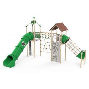 Kunststof speelcombinatie met een glijbaan en een klimparcours